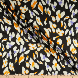 Telio Silky Light Weight Satin Animal Print Black Fabric