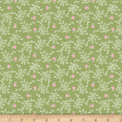 Boho Blooms Tossed Sprigs Green Fabric