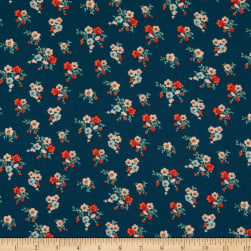 Fabric Merchants Double Brushed Poly Jersey Knit Mini Floral Bouquet Teal