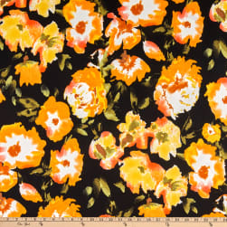 Double Brushed Poly Jersey Knit Watercolor Floral Black/Coral