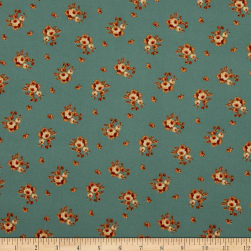 Double Brushed Poly Jersey Knit Mini Roses Mint/Rust