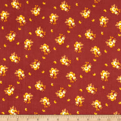 Fabric Merchants Double Brushed Poly Stretch Jersey Knit Mini Roses Mauve/Gold