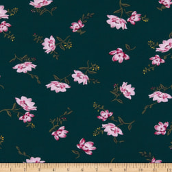 Double Brushed Poly Jersey Knit Floral Hunter Green/Pink