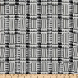 Fabric Merchants Double Brushed Poly Stretch Jersey Knit Houndstooth Plaid Black