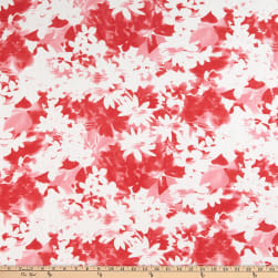 Watercolor Linen Blend Flower Coral/White Fabric