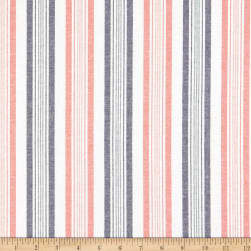 Striped Cotton Shirting Coral/Navy