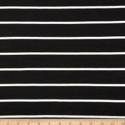 Rayon Spandex Jersey Knit Stripe Black/Ivory Fabric