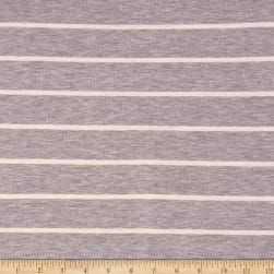 Rayon Spandex Jersey Knit Stripe Heather Grey/Ivory Fabric