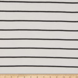 Rayon Spandex Jersey Knit Stripe Ivory/Two Tone Charcoal Fabric