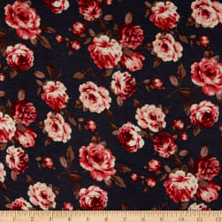 Rayon Spandex Stretch Jersey Knit Roses Charcoal/Coral Fabric