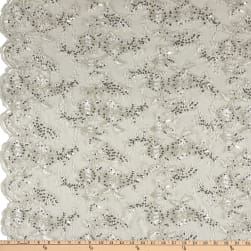 Sequin Embroidery Lace Ivory Fabric