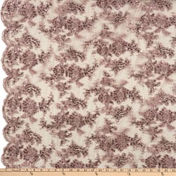 Sequin Embroidery Lace Dusty Rose