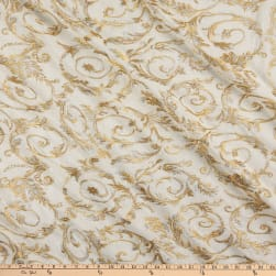 Rayon Linen Metallic Embroidery Ivory/Gold Fabric