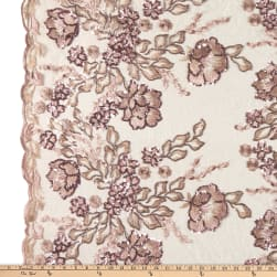Rachelle Metallic Lace Floral Sequin Dusty Rose