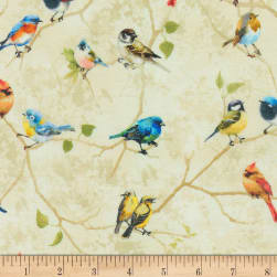 Timeless Treasures Digital Birch Song Painted Birds Perched