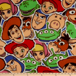 Disney Toy Story Sticker Party Fleece Multi Fabric