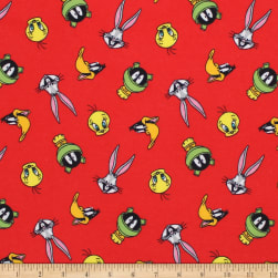 Looney Toons Tossed Faces Flannel Ruby
