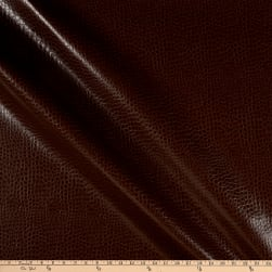 Non-Backed Crocodile Faux Leather Brown Fabric