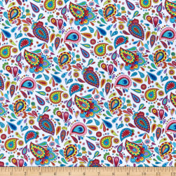 Wilmington Live Out Loud Paisley Toss White Fabric