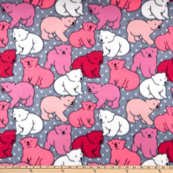 Polar Fleece Polka Dot Bear Pink Fabric