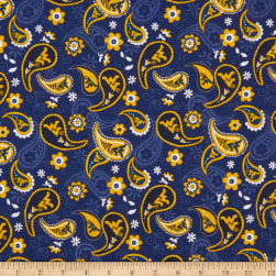 NCAA West Virginia Mountaineers Paisley Cotton Multi Fabric