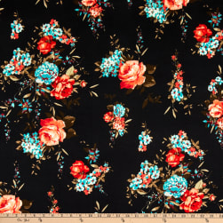Merchants ITY Jersey Knit Rose Bouquet Black/Coral