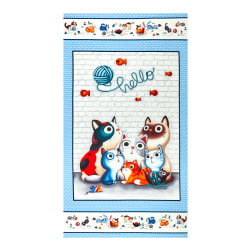 Michael Miller Feline Friends Hello 24'' Panel Blue Fabric