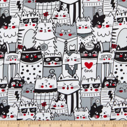 Timeless Treasures Cool Cats Packed Outlined Cats White