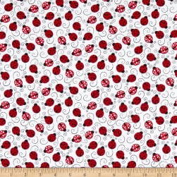 Timeless Treasures You Make My Heart Happy Little Red Ladybugs White Fabric