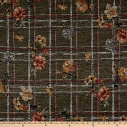 Telio Topaz Brushed Hatchi Stretch Knit Floral Plaid Olive Fabric