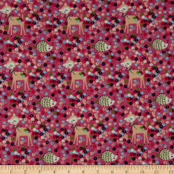 Fabtrends Cotton Jersey Bambi Porcupine Floral Pink Fabric