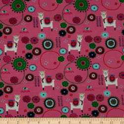 Fabtrends Cotton Jersey Llama Floral Pink Fabric
