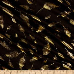 Fabtrends Cotton Jersey Metallic Fancy Feathers Black Fabric