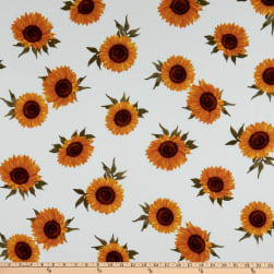 Fabtrends Sunflower Blossom Linen Look Voile Ivory/Gold Fabric