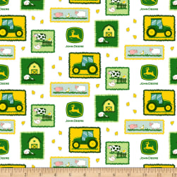 John Deere Nursery Tractor Patches White