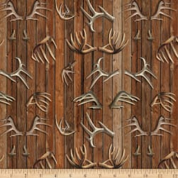 Wild Wings Field Day Antlers Brown Fabric