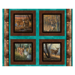 Wild Wings Field Day Deer 36'' Pillow Panel Brown Fabric