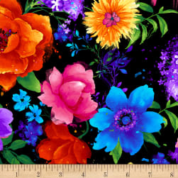 Timeless Treasures Night Bloom Large Floral Black Fabric
