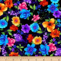 Timeless Treasures Night Bloom Small Floral Black Fabric