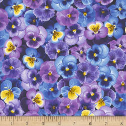 Timeless Treasures Pansy Paradise Packed Pansies Purple Fabric