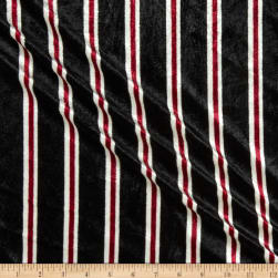 Fabric Merchants Stretch Velvet Double Stripe Black/Burgundy