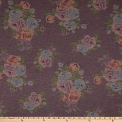 Fabric Merchants Rayon Spandex Stretch Jersey Knit Abstract Floral Mauve/Grey