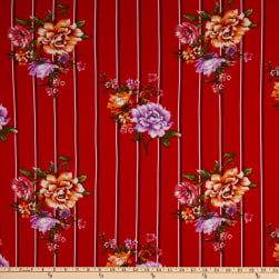 Fabric Merchants Double Brushed Poly Stretch Jersey Knit Double Stripe Floral Red/Lilac