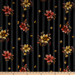 Fabric Merchants Double Brushed Poly Jersey Knit Multi Stripe Floral Black/Coral