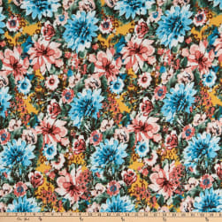 Fabric Merchants Double Brushed Poly Stretch Jersey Knit Allover Floral Turquoise/Coral