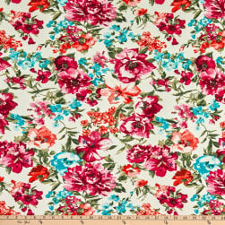 Fabric Merchants Double Brushed Poly Stretch Jersey Knit Allover Floral Ivory/Magenta/Turquoise