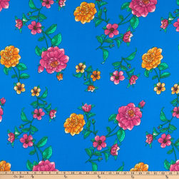Fabric Merchants Double Brushed Poly Stretch Jersey Knit Floral Turquoise/Hot Pink