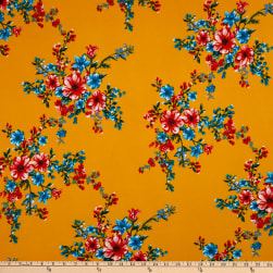 Fabric Merchants Double Brushed Poly Stretch Jersey Knit Floral Bouquet Mustard/Turquoise/Coral