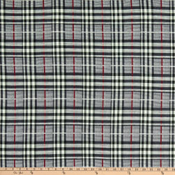 Fabric Merchants Double Brushed Poly Stretch Jersey Knit Plaid Black/Gray/Burgundy