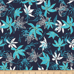 Stoffabric Denmark Avalana Viscose Stretch Jersey Knit Digital Printed Large Flowers Dark Blue